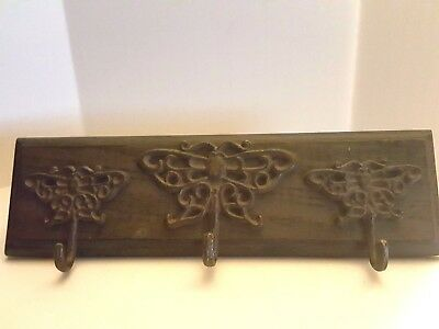 Rustic 3 Cast Iron Butterfly Hook Wall Mount Solid Wood Rack  Multi-Purpose