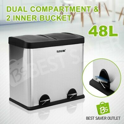 48L Rubbish Bin Stainless Steel Pedal Kitchen Recycling Rubbish 2 Compartment
