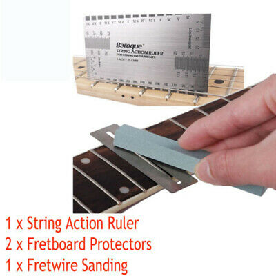 Guitar String Action Ruler & Fret Protector Guards & Sanding Polish Luthier Tool