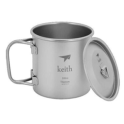 Keith Ultralight Titanium Cup with Lid Camping  Picnic  Mug Water Cup  Ti3205