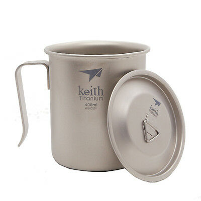 Keith 400ml Titanium Cup with Lid Ultralight Picnic Mug Water Cup Ti3263