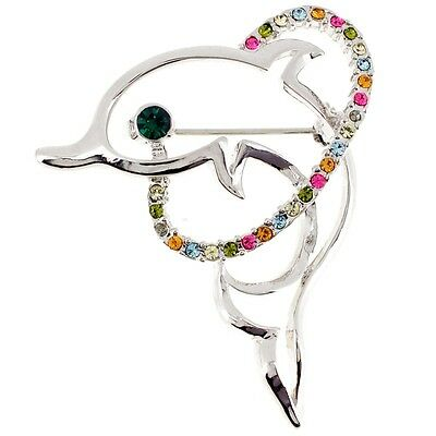 Silver Crystal Dolphin Pin Brooch. Delivery is Free