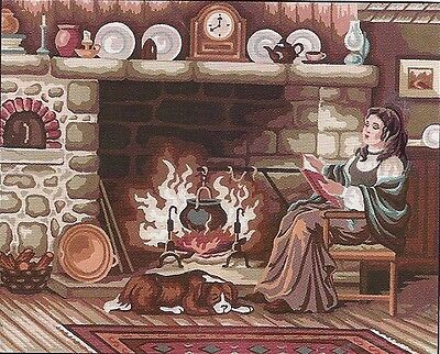 Pioneer Woman Reading By The Fire Needlepoint Canvas From Collection D'art Canva