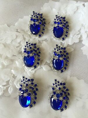 6 Royal Sapphire Blue Diamante Crystal Pearl Brooch Wedding Bouquet Accessories