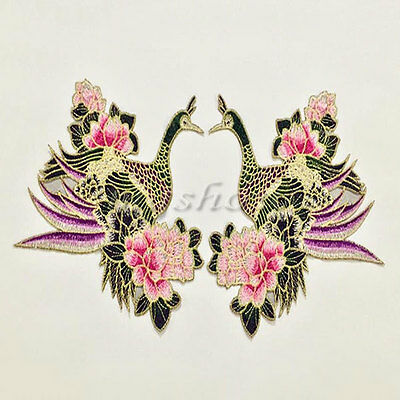 Bird flower Lace Love Embroidered Patch Iron/Sew On Cloth Badge Applique wedding