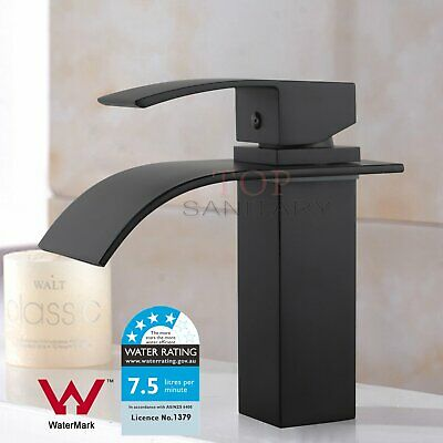 Square Waterfall Kitchen Faucet Brass Bathroom Vanity Sink Basin Mixer Tap Black