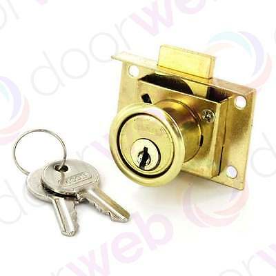 Office Desk Drawer Lock Catch Cabinet Cupboard Door Keys Security BRASS 50mm