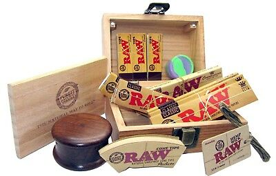 Raw Wooden Rolling Box King Size Roll Papers Filter Cone Tips Grinder Hemp Wick