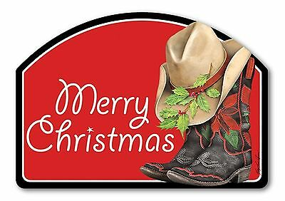 Cowboy Christmas Boots Yard DeSign Interchangeable Magnetic Insert Western Boots
