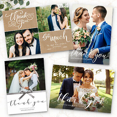 Personalised Wedding Thank You Cards with Photo + Envelopes (G1)