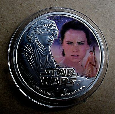 2016 NEW ZEALAND 1oz 999 FINE SILVER PLATE STAR WARS THE FORCE AWAKENS REY