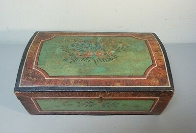 Great 19Th Century Hand Made Wooden Bride's Box, Dome Top, Original Paint