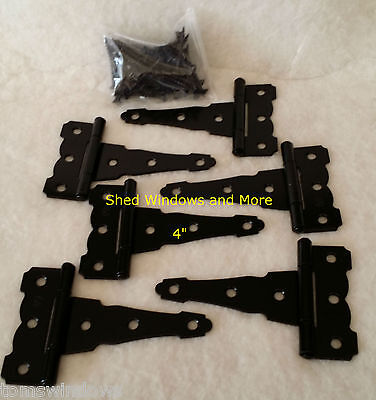 """4"""" Colonial Style T Strap Hinge Heavy Duty (set of 6) playhouse coops sheds"""