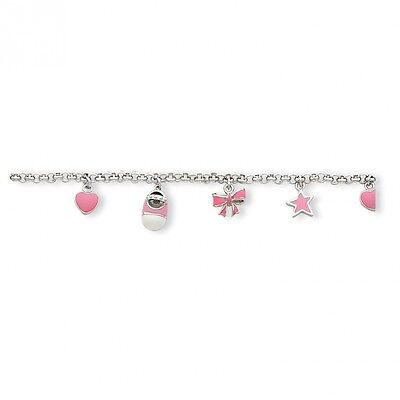 Sterling Silver Pink Enamelled Baby Charm Bracelet. Brand New
