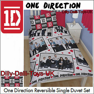 1D One Direction BRAND NEW + REDUCED Single Duvet Cover Pillowcase Heart Bedding