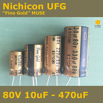 "Nichicon UFG FG ""Fine Gold"" MUSE High Grade for Audio [80V] Capacitors"