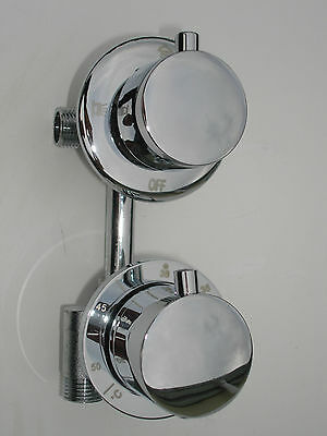 New All Metal Chrome Thermostatic 3 Way Diverter Shower Mixer Tap Valve, 079N