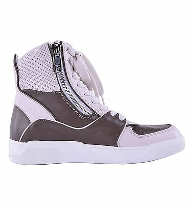 DOLCE & GABBANA High-Top Sneakers mit 2 Zipper Braun Beige Made in Italy 04630