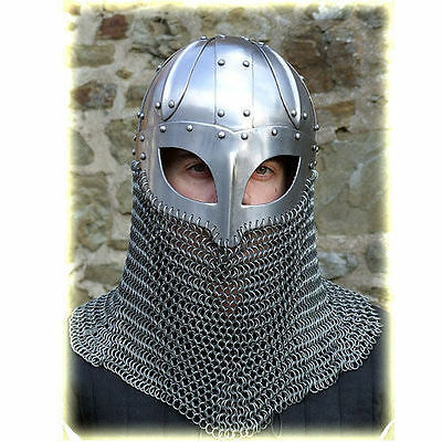 Viking Mask Helmet W/Chainmail Medieval Armour Reenactment SCA LARP Replica JK7C