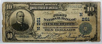 1902 $10 National Currency Banknote New Bedford Massachusetts CH# 261- WW