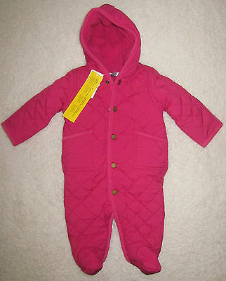 Nwt Polo Ralph Lauren Infant Girls Quilted Snow Suit Bunting Size 9 Months Pink