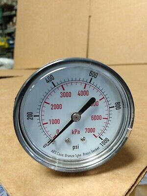 "New  0-1000 Psi Pressure Gauge 2 1/2"" Air Or Hydraulic Gage 1/4"" Bspt Threads"