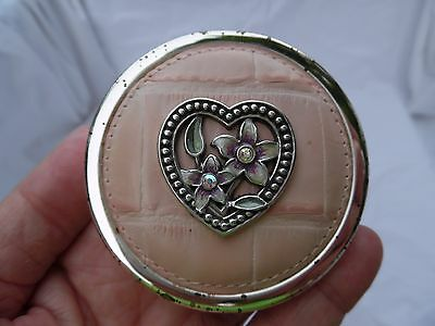 Vintage Brighton Pink Croc Leather Compact Mirror Case w/Flower Heart
