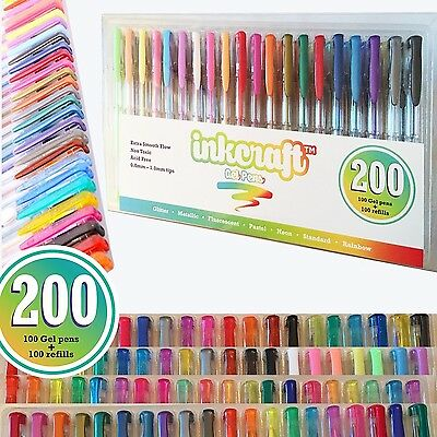 200 Piece Gel Pen Set - 100 Pens PLUS 100 Refills - Ideal for Adult Colouring Bo