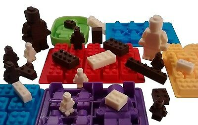 Lego Chocolate and Candy Moulds, 6pc Deluxe Set of Various Sized Bricks and Lego