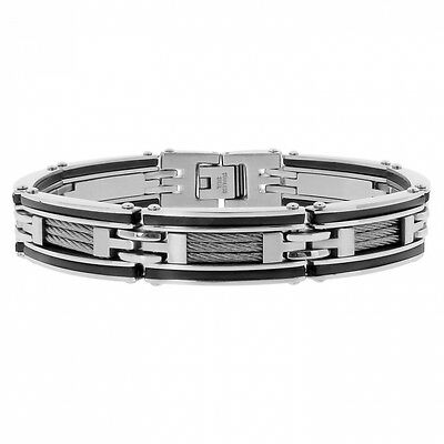 Men's Stainless Steel Cable and Rubber Bracelet with Black Plating, 8.5''. Shipp