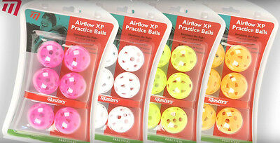 Masters Golf - Airflow XP Practice Balls Pack of 6 in White/Yellow/Orange/Pink