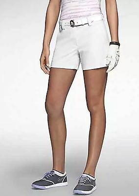 Nike Women's Modern Rise Sporty Golf Shorts White New 618149-100 UK 16