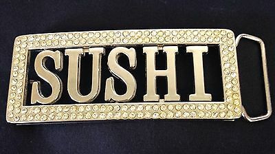 Sushi Belt Buckle Surrounded By Rhinestones