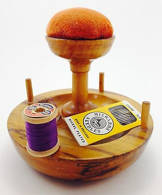 Antique Mid 1800 Victorian Tiger Eye Maple Pincushion And Thread Holder/Stand.