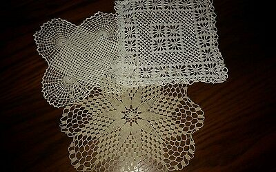 Lovely Lot 3 Vintage  Crocheted Doilies-pristine