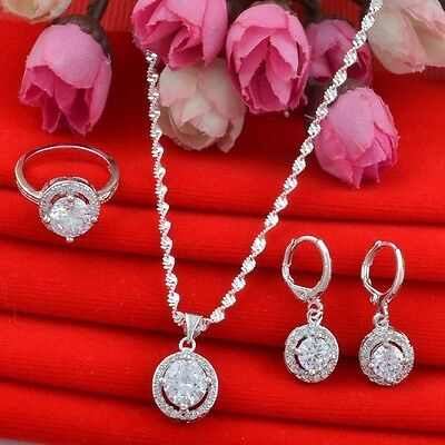 Round white zircon 925 silver fashion jewelry set Necklace Pendant+earring+ring