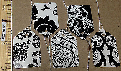 Lot 500 Country French Black White Price Tags Pre-Strung 5 Patterns Retail #5