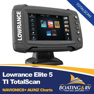 Lowrance Elite 5 TI - Totalscan, Fishfinder GPS Chartplotter, WITH AU/NZ CHARTS