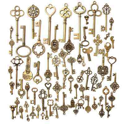 70x Set Vintage Antique Old Look Bronze Skeleton Keys Fancy Heart Bow Pendant