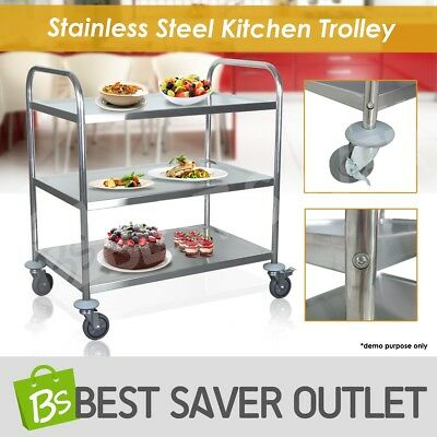 3 Tier Trolley Cart Kitchen Dining Service Food Utility Stainless Steel