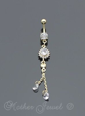 Pear Cluster Drop Dangle Yellow Gold Plate Surgical Steel Navel Belly Bar Ring