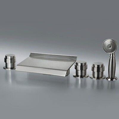 Modern 5 Holes Brushed Nickel Waterfall Roman Tub Filler Faucet with Handshower
