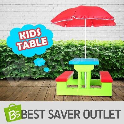 Outdoor Indoor Kids Team Group Play Picnic Craft Activity Table Bench Chair Set