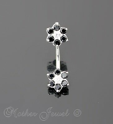 925 Sterling Silver Black 9Mm Twin Flower Cz 316L Surgical Steel Belly Bar Ring