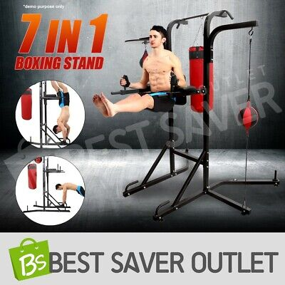 7 in 1 Boxing Station Power Tower Chin Up Punching Bag Speed Ball Training Stand