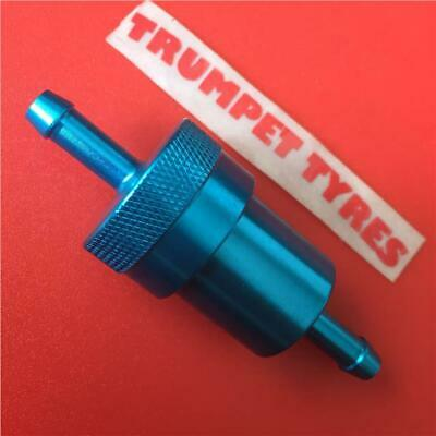 6Mm Anodised Blue Line Fuel Filter Motorcycle Motorbike Moped Scooter Trials Mx