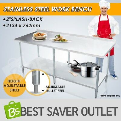 Kitchen Work Bench Stainless Steel Top Table Food Prep Catering 2130mmx760mm