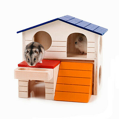 1 Pc Wooden Hamster House Ladder Pets Animals Rats Hideout Luxury Home 2 Storey