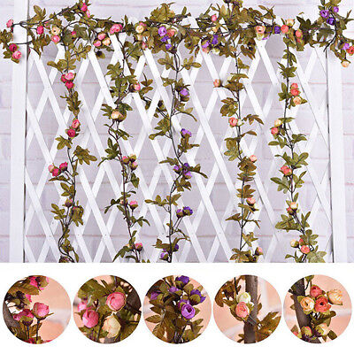 2.2m Artificial Flower Vine Roses Leave Wedding Home Plant Decor Garland Hanging
