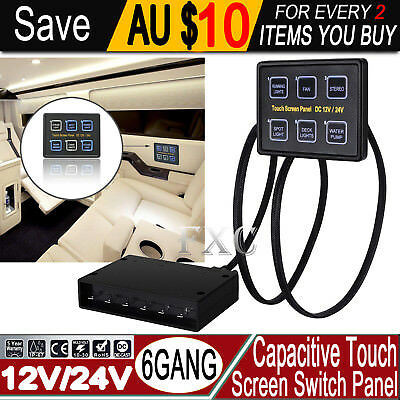 6 Gang LED Back Capacitive Touch Screen Marine Boat Caravan Switch Panel 12V/24V